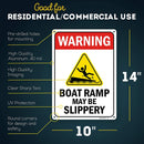 "Caution Slippery When Wet Boat Ramp Sign, 10"" x 14"" Industrial Grade Aluminum, Easy Mounting, Rust-Free/Fade Resistance, Indoor/Outdoor, USA Made by MY SIGN CENTER"