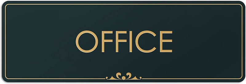 "Office - Laser Engraved Sign - 3""x9"" - .050 Black and Gold Plastic"