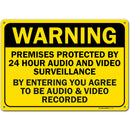 "Warning 24 Hour Audio and Video Surveillance Sign,Made Out of .040 Rust-Free Yellow Aluminum, Indoor/Outdoor Use, UV Protected and Fade-Resistant, 10"" x 14"", by My Sign Center"
