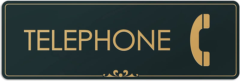 "Telephone - Laser Engraved Sign - 3""x9"" - .050 Black and Gold Plastic"