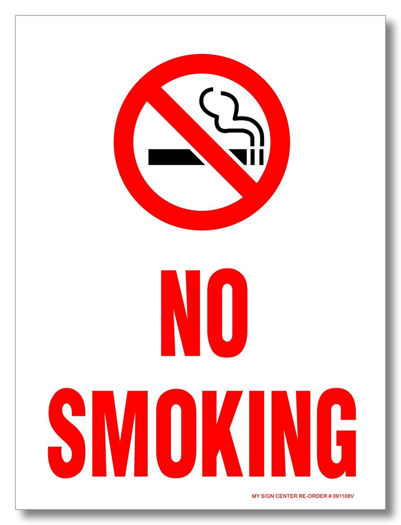 "(3 Pack) No Smoking Decal Sign, 8"" X 6"" - Self Adhesive 3 Mil Vinyl Decal - Made in USA - Indoor and Outdoor Use"