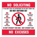 "(4 Pack) No Soliciting No Excuses Decal - 6"" X 6"" - Self Adhesive 4 Mil Vinyl Decal - Made in USA - Indoor & Outdoor Use - A86-268-4VL"