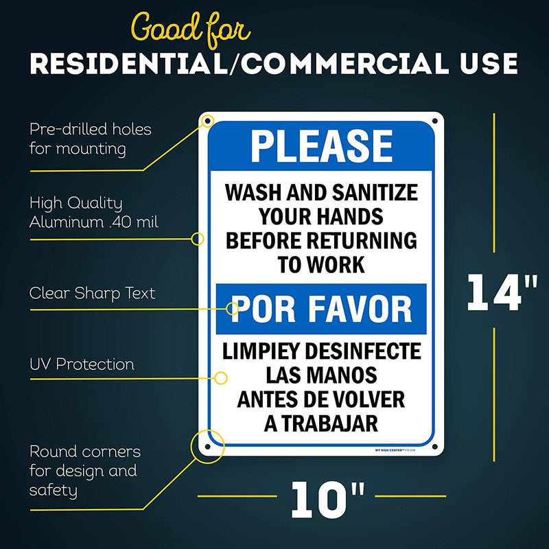 "Please Wash and Sanitize Hands Before Returning Work Bilingual Sign, Made Out of .040 Rust-Free Aluminum, Indoor/Outdoor Use, UV Protected and Fade-Resistant, 10"" x 14"", by My Sign Center"