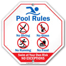 "Pool Rules Swim at Your Own Risk Sign - 11""x11"" - Octagon .040 Rust Free Aluminum - Made in USA - UV Protected and Weatherproof - A90-234AL"