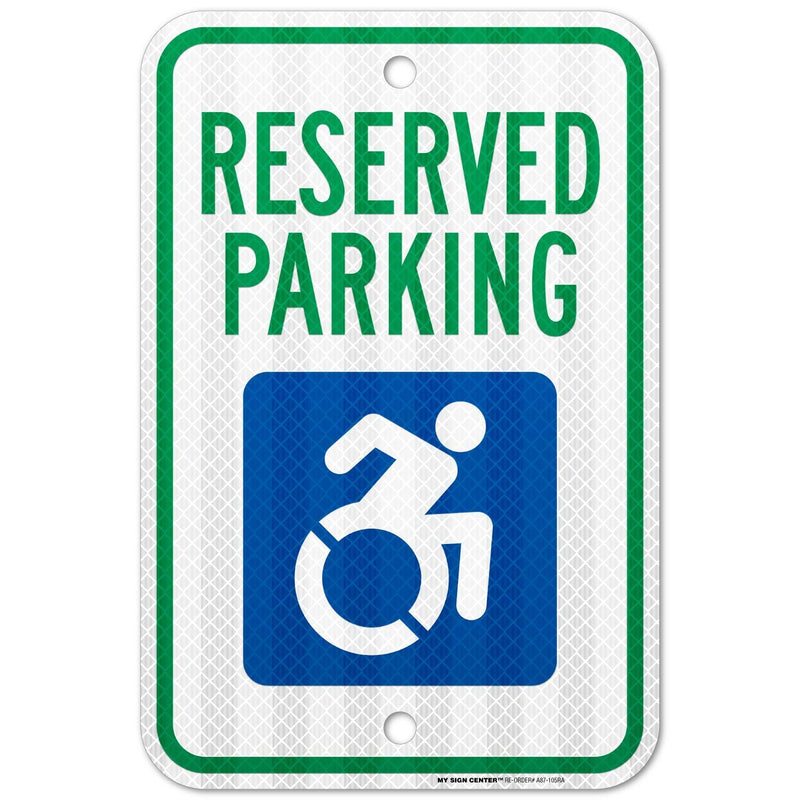 "Handicap Parking Reserved Sign, Made out of 3M Reflective Engineer Grade Prismatic .063 Rust Free Aluminum, Indoor/Outdoor Use, UV Protected and Fade-Resistant, 12"" x 18"", By My Sign Center"