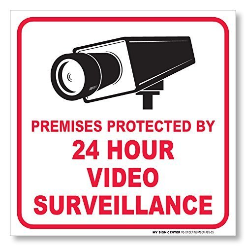 "(4 Pack) Premises Protected by 24 Hour Video Surveillance Sticker - Made in USA - 5 ½"" X 5 ½"" - Self Adhesive 4 Mil Vinyl Decal - Indoor & Outdoor Use - A85-05"