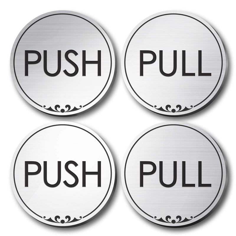 "Push and Pull Signs for Doors, Laser Engraved, Indoor and Outdoor Use, 2"" Sign Made by My Sign Center, 23137B2-BA-2"