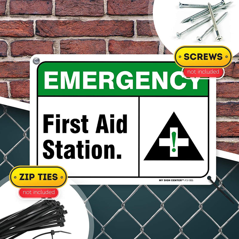 "Emergency First Aid Station Sign, Made Out of .040 Rust-Free Aluminum, Indoor/Outdoor Use, UV Protected and Fade-Resistant, 7"" x 10"", by My Sign Center"
