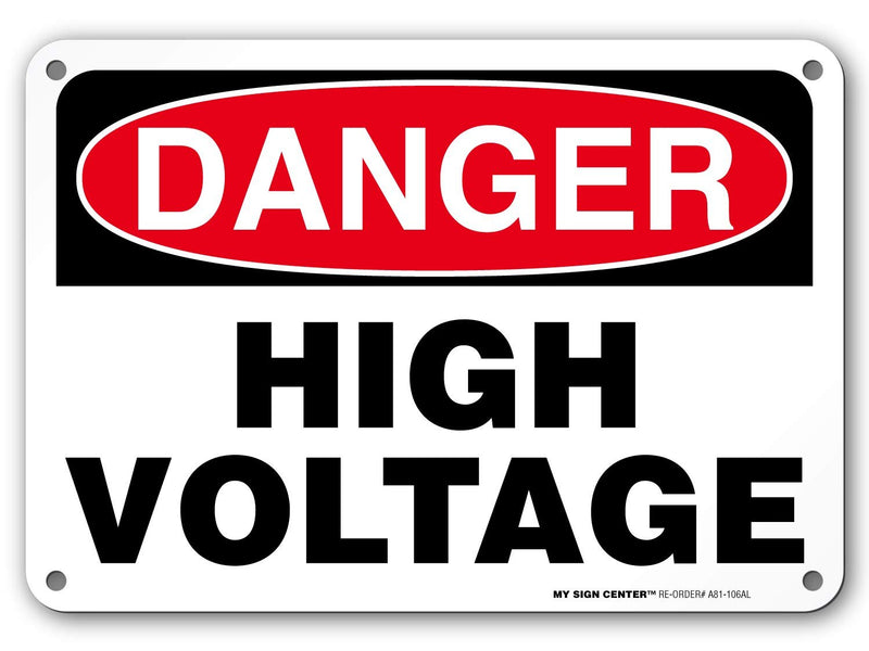 "Danger High Voltage Rectangular Electrical Sign by My Sign Center - Rust Free, UV Coated and Weatherproof .040 Aluminum - Rounded Corners and Pre-Drilled Holes - 7"" x 10"" - A81-106AL"