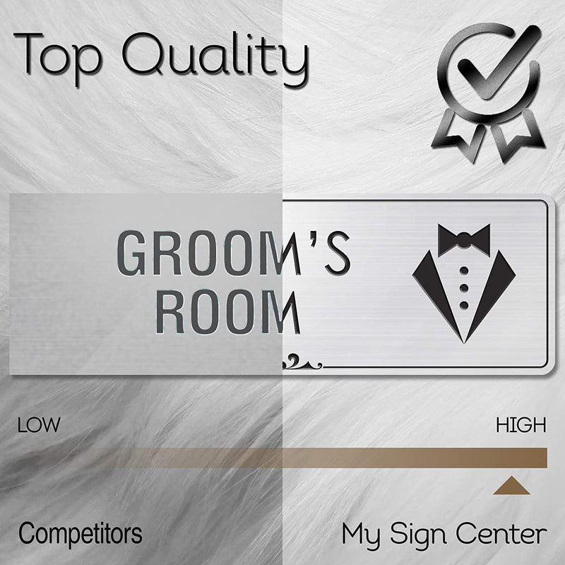 "Groom Room Sign Wedding Room Decorations, 3"" x 9"", Brushed Metal Finish, Laser Engraved, Prestige Collection, USA Made by MY SIGN CENTER"