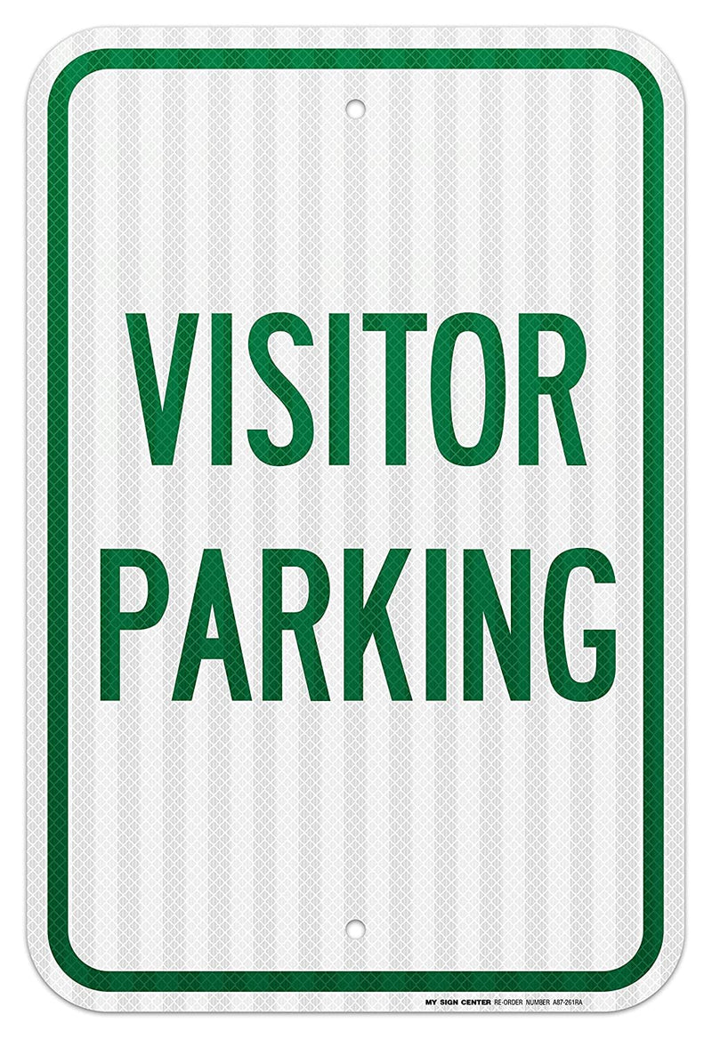 "Visitor Parking Sign - 12""x18"" .063 3M Engineer Grade Prismatic Reflective Aluminum - Made in USA - UV Protected and Weatherproof - A87-261RA"