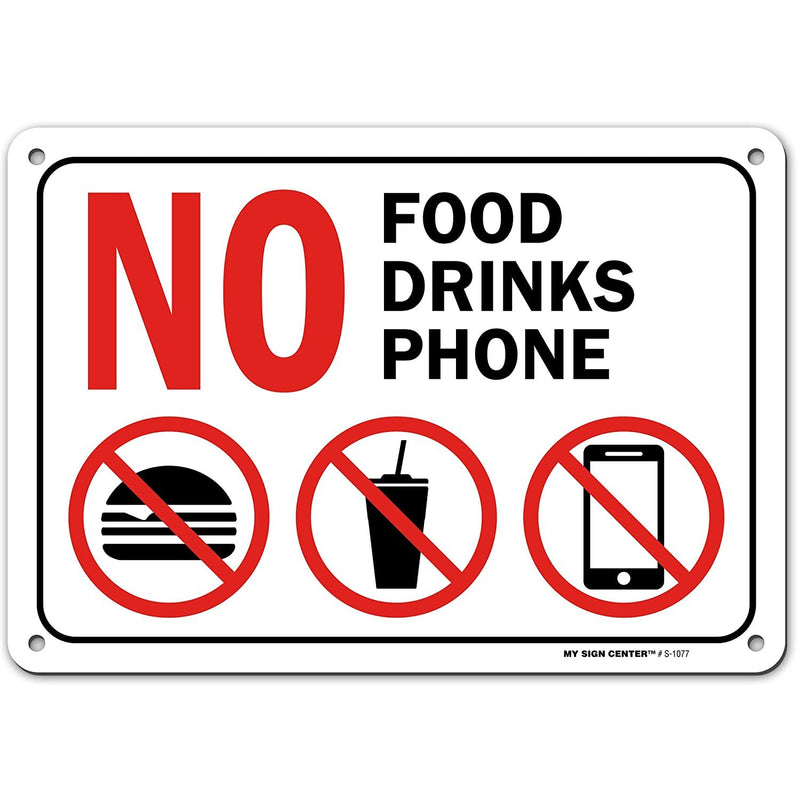 "No Phones No Food or Drink Beyond This Point Sign, Made Out of .040 Rust-Free Aluminum, Indoor/Outdoor Use, UV Protected and Fade-Resistant, 7"" x 10"", by My Sign Center"