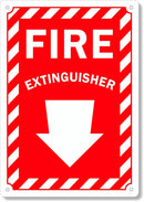 "Fire Extinguisher with Arrow Down Safety Sign, 10"" X 7"" .040 Rust Free Aluminum"