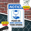 "Please Use Hand Sanitizer Before Entering Sign, 7"" x 10"" Industrial Grade Aluminum, Easy Mounting, Rust-Free/Fade Resistance, Indoor/Outdoor, USA Made by MY SIGN CENTER"