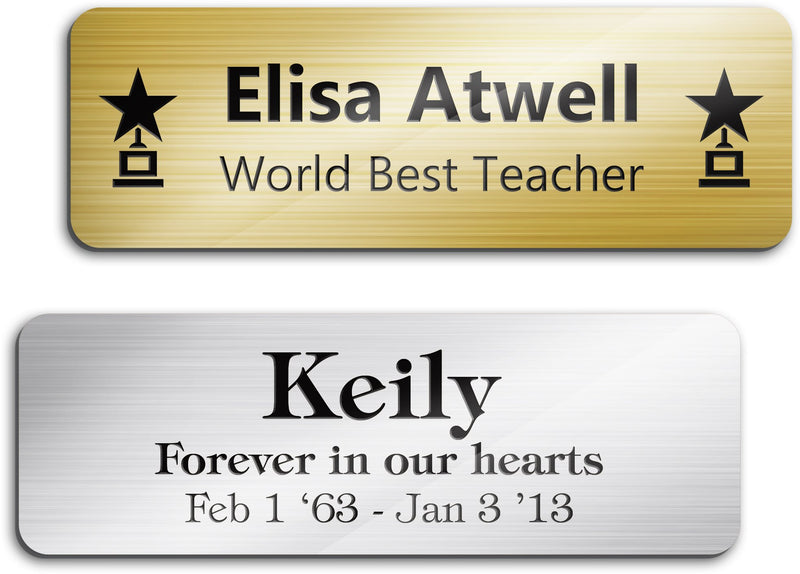"Engraved Name Plate Customized and Personalized, 1"" x 3"", 18 Color Options, Laser Engraved, Classic  Collection, USA Made By MY SIGN CENTER"