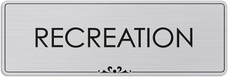 "Recreation - Laser Engraved Sign - 3""x9"" - .050 Brushed Silver Plastic"