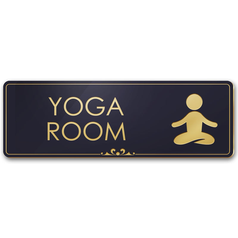"Yoga Room Sign Meditation in Progress Sign, 3"" x 9"", Brushed Metal Finish, Laser Engraved, Prestige Collection, USA Made by MY SIGN CENTER"