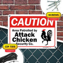 "Funny Chicken Sign, Area Patrolled by Attack Chicken Sign, Made Out of .040 Rust-Free Aluminum, Indoor/Outdoor Use, UV Protected and Fade-Resistant, 7"" x 10"", by My Sign Center"
