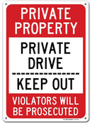 "Private Property Private Drive Sign Keep Out Violators Will Be Prosecuted , Made out of .040 Rust-Free Aluminum, Indoor/Outdoor Use, UV Protected and Fade-Resistant, 10"" x 14"", By My Sign Center"