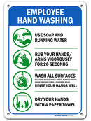 "Employees Must Wash Hands Sign, Made Out of .040 Rust-Free Aluminum, Indoor/Outdoor Use, UV Protected and Fade-Resistant, 7"" x 10"", by My Sign Center"
