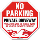 "Private Driveway No Parking Sign Violator Will Be Towed, Octagon Shaped, Made out of .040 Rust-Free Aluminum, Indoor/Outdoor Use, UV Protected and Fade-Resistant, 11"" x 11"", By My Sign Center"