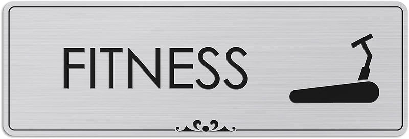 "Fitness - Laser Engraved Sign - 3""x9"" - .050 Brushed Silver Plastic"