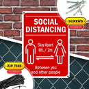 "Social Distancing Sign Maintain 6 feet Apart, Wear Face Mask Sign, 10"" x 14"" Industrial Grade Aluminum, Easy Mounting, Rust-Free/Fade Resistance, Indoor/Outdoor, USA Made by MY SIGN CENTER"