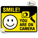 "(6 Pack) Smile You're on Camera Sticker, Premium 4 Mil Self Adhesive Vinyl Decal, Indoor and Outdoor Use, 2.5"" x 3.5"" - by My Sign Center, 21130H1-VL-6"