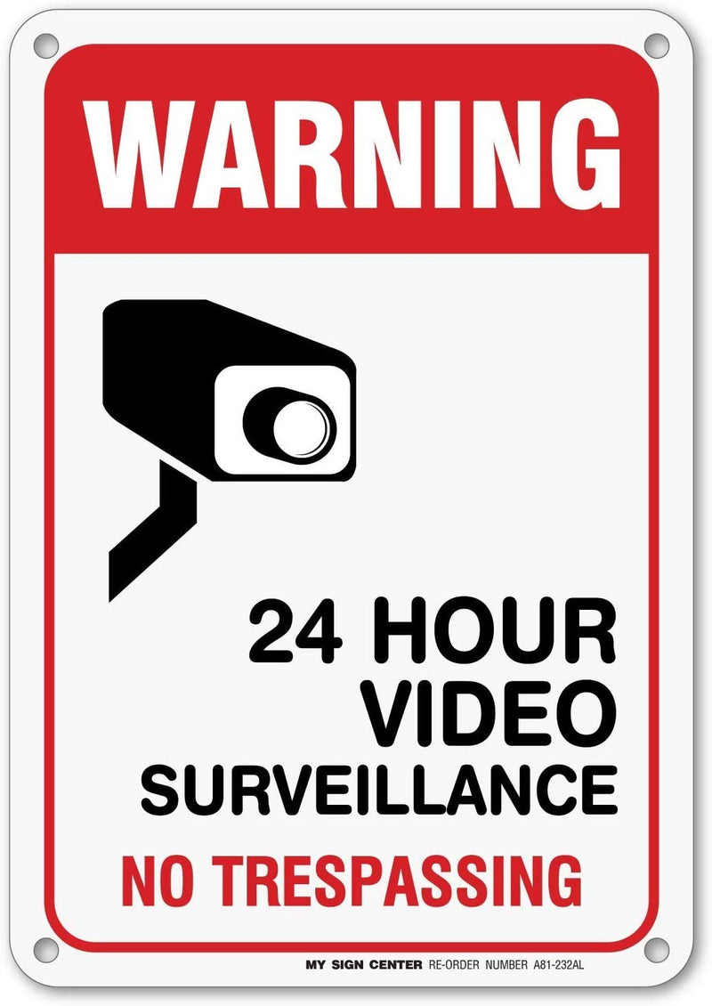 Visual 52 Warning 24 Hour Video Surveillance No Trespassing Sign - .040 Rust Free Aluminum - Made in USA - UV Protected and Weatherproof
