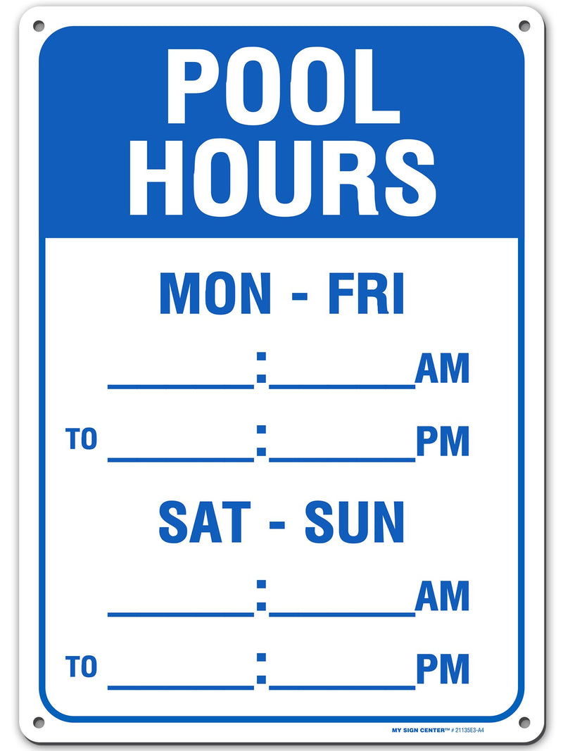 "Swimming Pool Hours Sign - 10"" x 14"" - .040"" Rust Free Aluminum Pool Rules Sign - Weatherproof with UV Protected Digital Printing - Made in USA - 21135E3-A4"