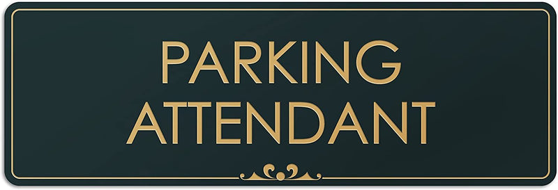 "Parking Attendant - Laser Engraved Sign - 3""x9"" - .050 Black and Gold Plastic"