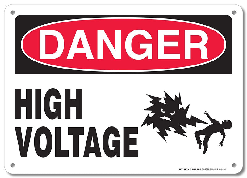 "Danger High Voltage Rectangular Electrical Sign by My Sign Center - Rust Free, UV Coated and Weatherproof .040 Aluminum - Rounded Corners and Pre-Drilled Holes - 10"" x 14"" - A82-104AL"