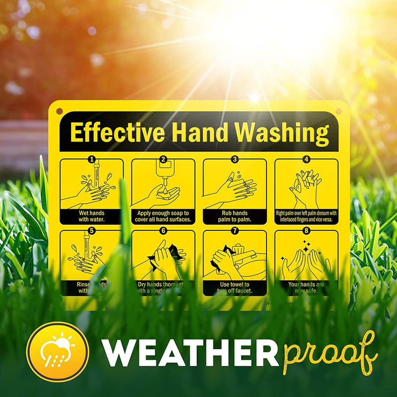 "Effective Hand Washing Sign, Made Out of .040 Rust-Free Aluminum, Indoor/Outdoor Use, UV Protected and Fade-Resistant, 7"" x 10"", by My Sign Center"