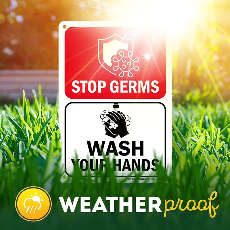 "Corona Virus Wash Your Hands Sign, Made Out of .040 Rust-Free Aluminum, Indoor/Outdoor Use, UV Protected and Fade-Resistant, 7"" x 10"", by My Sign Center"