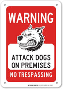 "Warning Beware of Attack Dogs On Premises No Trespassing Sign - Dog Does Bite - 10"" X 7"" - .040 Rust Free Heavy Duty Aluminum - Made in USA - UV Protected and Weatherproof - A81-346AL"