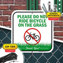 "Keep Off Grass Sign Please Do Not Ride Bicycle On The Grass, 11"" x 11"" Industrial Grade Aluminum, Easy Mounting, Rust-Free/Fade Resistance, Indoor/Outdoor, USA Made by MY SIGN CENTER"