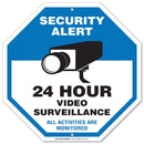 "24 Hour Video Surveillance Sign - 11""x11"" - Octagon .040 Rust Free Aluminum - Made in USA - UV Protected and Weatherproof - A90-320AL"