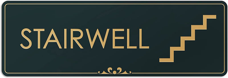 "Stairwell - Laser Engraved Sign - 3""x9"" - .050 Black and Gold Plastic"