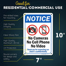 "Notice No Camera No Cell Phone No Video Recording Sign, Made Out of .040 Rust-Free Aluminum, Indoor/Outdoor Use, UV Protected and Fade-Resistant, 7"" x 10"", by My Sign Center"