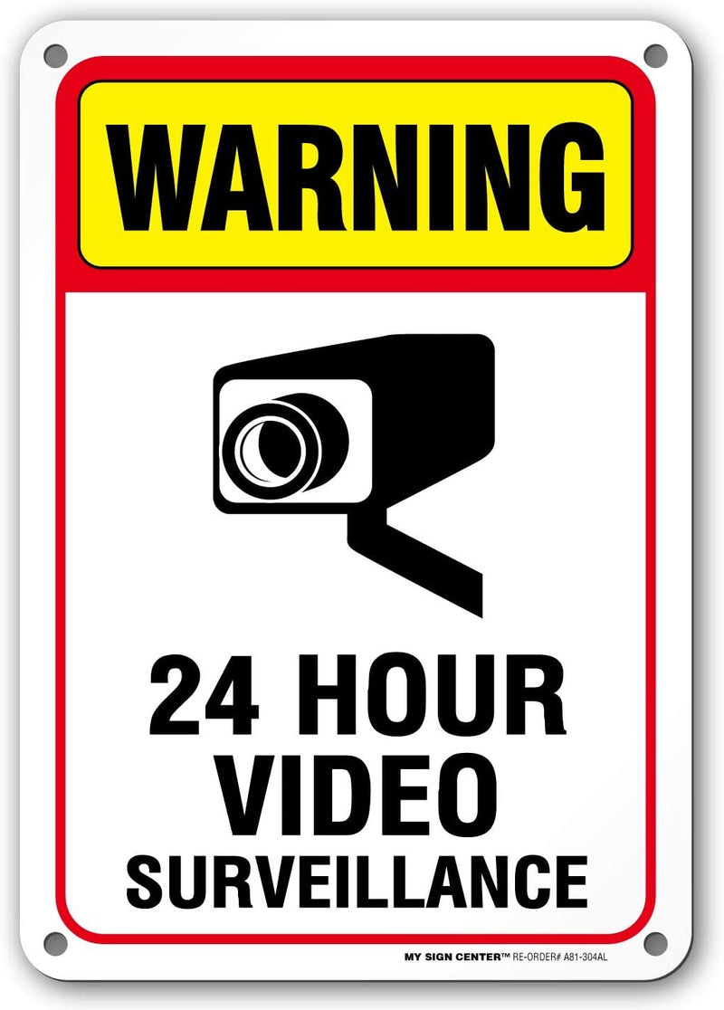 "Under Video Surveillance Sign, CCTV Warning, Outdoor Rust-Free Metal, 7"" x 10"" - A81-304AL"