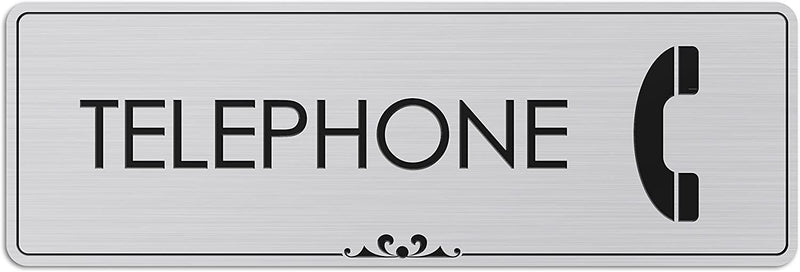 "Telephone - Laser Engraved Sign - 3""x9"" - .050 Brushed Silver Plastic"