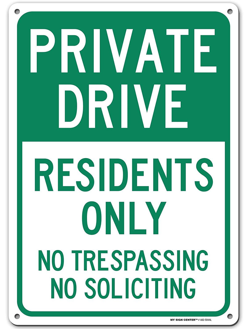 "Private Driveway Resident Parking Only, No Soliciting No Trespassing Sign, Made Out of .040 Rust-Free Aluminum, Indoor/Outdoor Use, UV Protected and Fade-Resistant, 10"" x 14"", by My Sign Center"
