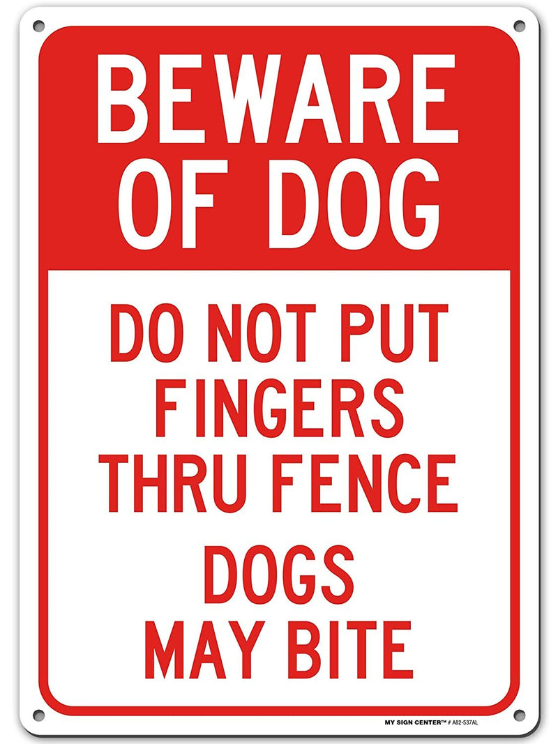 "Beware of Dog Sign, Caution Dog May Bite, Made Out of .040 Rust-Free Aluminum, Indoor/Outdoor Use, UV Protected and Fade-Resistant, 10"" x 14"", by My Sign Center"