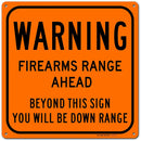 "Warning Firearm Gun Shooting Range Sign, Made out of .040 Rust-Free Orange Aluminum, Indoor/Outdoor Use, UV Protected and Fade-Resistant, 11"" x 11"", By My Sign Center"