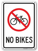"No Bikes Sign - 10""x14"" - .040 Rust Free Aluminum - Made in USA - UV Protected and Weatherproof - A82-588AL"