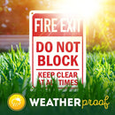"Fire Exit Keep Clear Do Not Block Sign, Made Out of .040 Rust-Free Aluminum, Indoor/Outdoor Use, UV Protected and Fade-Resistant, 7"" x 10"", by My Sign Center"