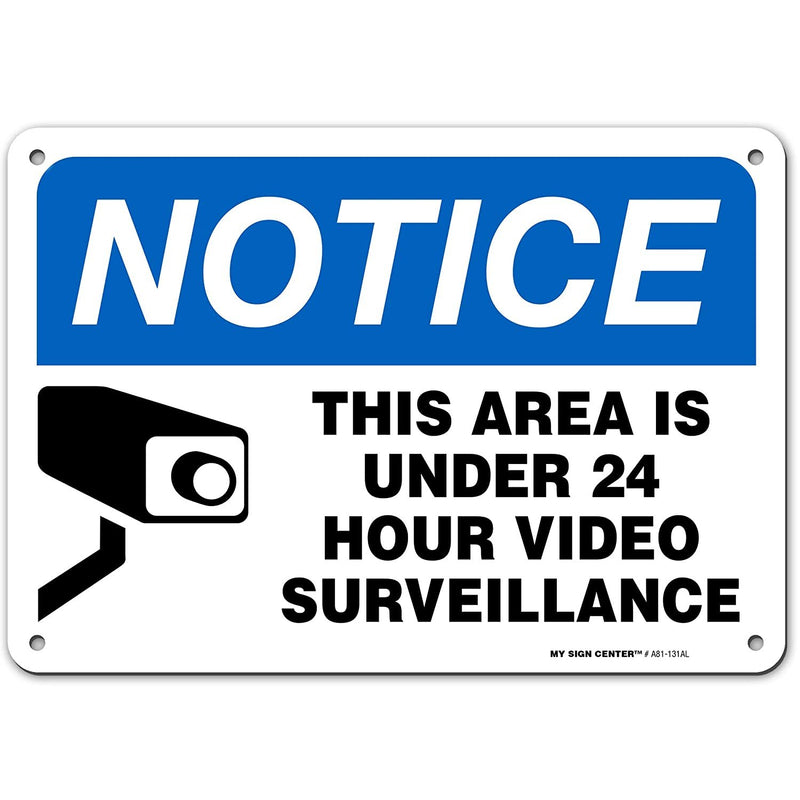 "Warning Security Cameras in Use 24 Hour Video Surveillance Sign, Made Out of .040 Rust-Free Aluminum, Indoor/Outdoor Use, UV Protected and Fade-Resistant, 7"" x 10"", by My Sign Center"