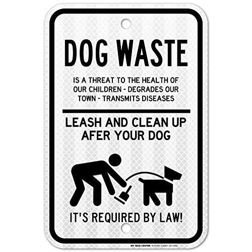 "Curb Your Dog Sign, Leash and Clean Up After Your Dog Sign, No Dog Poop Yard Sign, 3M Engineer Grade Prismatic .080 Reflective Outdoor Aluminum, 12"" x 18"" - by My Sign Center, A87-439RA"