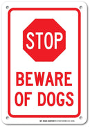 "Beware of Dogs Warning Sign - 7""x10"" - .040 Rust Free Heavy Duty Aluminum - Made in USA - UV Protected and Weatherproof - A81-459AL"