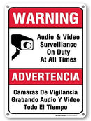 "Audio and Video Surveillance On Duty at All Times Sign - 10"" x 14"" - .040 Rust Free Metal - Made in USA - UV Protected and Weatherproof - 21148E3-A4"